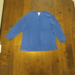Talbots size 16 blue silk button-down blouse